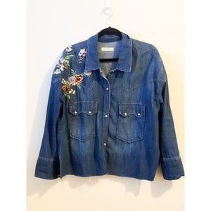 Zara Women Embroidered Denim shirt